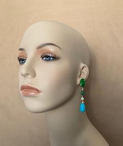Michael Kneebone Michael Kneebone Maw Sit Sit Jade Emerald Turquoise Diamond Dangle Earrings - 1651686