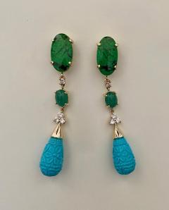 Michael Kneebone Michael Kneebone Maw Sit Sit Jade Emerald Turquoise Diamond Dangle Earrings - 1651687