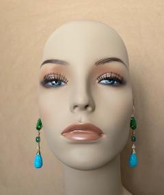 Michael Kneebone Michael Kneebone Maw Sit Sit Jade Emerald Turquoise Diamond Dangle Earrings - 1651688