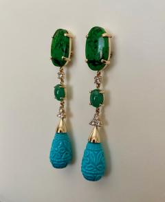 Michael Kneebone Michael Kneebone Maw Sit Sit Jade Emerald Turquoise Diamond Dangle Earrings - 1651689