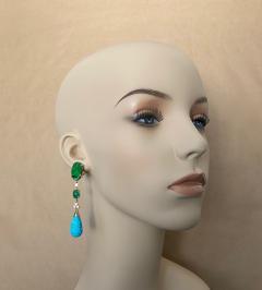 Michael Kneebone Michael Kneebone Maw Sit Sit Jade Emerald Turquoise Diamond Dangle Earrings - 1651690