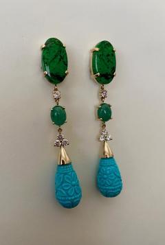 Michael Kneebone Michael Kneebone Maw Sit Sit Jade Emerald Turquoise Diamond Dangle Earrings - 1651691