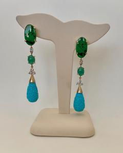 Michael Kneebone Michael Kneebone Maw Sit Sit Jade Emerald Turquoise Diamond Dangle Earrings - 1651697