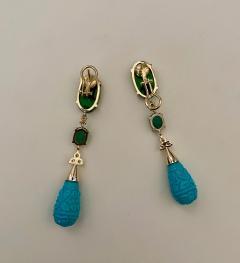 Michael Kneebone Michael Kneebone Maw Sit Sit Jade Emerald Turquoise Diamond Dangle Earrings - 1651700