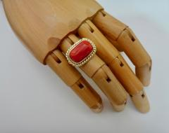 Michael Kneebone Michael Kneebone Mediterranean Red Coral 18k Gold Ring - 1137614