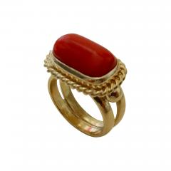 Michael Kneebone Michael Kneebone Mediterranean Red Coral 18k Gold Ring - 1138232