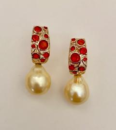 Michael Kneebone Michael Kneebone Mexican Fire Opal Golden South Seas Pearl Drop Earrings  - 1595501