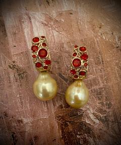 Michael Kneebone Michael Kneebone Mexican Fire Opal Golden South Seas Pearl Drop Earrings  - 1595503