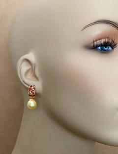 Michael Kneebone Michael Kneebone Mexican Fire Opal Golden South Seas Pearl Drop Earrings  - 1595510