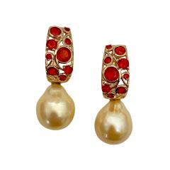 Michael Kneebone Michael Kneebone Mexican Fire Opal Golden South Seas Pearl Drop Earrings  - 1595947