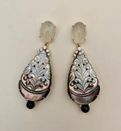 Michael Kneebone Michael Kneebone Moonstone Diamond Mother Of Pearl Black Pearl Dangle Earrings - 1562852