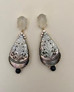 Michael Kneebone Michael Kneebone Moonstone Diamond Mother Of Pearl Black Pearl Dangle Earrings - 1562854