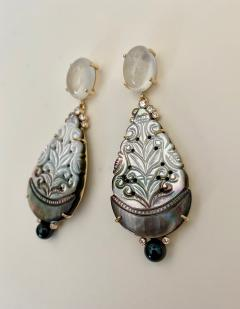 Michael Kneebone Michael Kneebone Moonstone Diamond Mother Of Pearl Black Pearl Dangle Earrings - 1562856