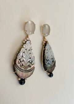 Michael Kneebone Michael Kneebone Moonstone Diamond Mother Of Pearl Black Pearl Dangle Earrings - 1562859