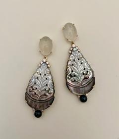 Michael Kneebone Michael Kneebone Moonstone Diamond Mother Of Pearl Black Pearl Dangle Earrings - 1562861