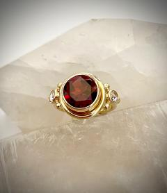 Michael Kneebone Michael Kneebone Mozambique Garnet Rose Cut Diamond Archaic Style Ring - 1513895