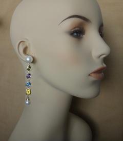 Michael Kneebone Michael Kneebone Multi gemstone Paspaley South Seas Pearl Dangle Earrings - 1225438