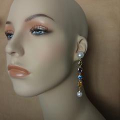 Michael Kneebone Michael Kneebone Multi gemstone Paspaley South Seas Pearl Dangle Earrings - 1225440
