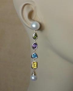 Michael Kneebone Michael Kneebone Multi gemstone Paspaley South Seas Pearl Dangle Earrings - 1225443