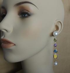 Michael Kneebone Michael Kneebone Multi gemstone Paspaley South Seas Pearl Dangle Earrings - 1225444