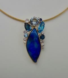Michael Kneebone Michael Kneebone Opal Topaz Aquamarine Sapphire Diamond Confetti Pendant - 1166490