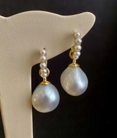 Michael Kneebone Michael Kneebone Paspaley South Seas Pearl Huggie Style Dangle Earrings - 1976252