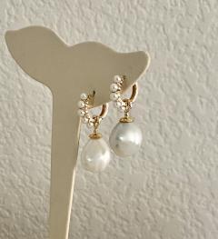 Michael Kneebone Michael Kneebone Paspaley South Seas Pearl Huggie Style Dangle Earrings - 1976253