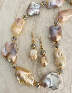 Michael Kneebone Michael Kneebone Pastel Baroque Pearl Granulated Bead Necklace Earring Suite - 1899334