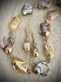 Michael Kneebone Michael Kneebone Pastel Baroque Pearl Granulated Bead Necklace Earring Suite - 1899340