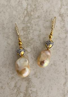 Michael Kneebone Michael Kneebone Pastel Baroque Pearl Granulated Bead Necklace Earring Suite - 1899341