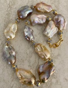 Michael Kneebone Michael Kneebone Pastel Baroque Pearl Granulated Bead Necklace Earring Suite - 1899352