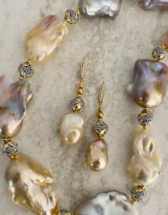 Michael Kneebone Michael Kneebone Pastel Baroque Pearl Granulated Bead Necklace Earring Suite - 1899353