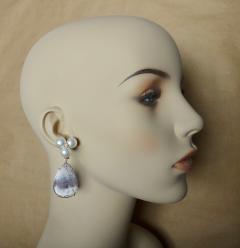 Michael Kneebone Michael Kneebone Pearl Cluster Diamond Dendritic Opal Dangle Earrings - 1247331