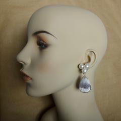 Michael Kneebone Michael Kneebone Pearl Cluster Diamond Dendritic Opal Dangle Earrings - 1247333