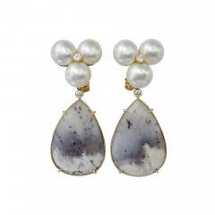 Michael Kneebone Michael Kneebone Pearl Cluster Diamond Dendritic Opal Dangle Earrings - 1248146