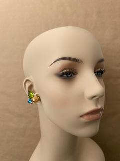 Michael Kneebone Michael Kneebone Peridot Blue Topaz Diamond Gold Shell earrings  - 1353188
