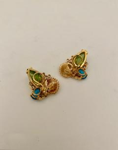 Michael Kneebone Michael Kneebone Peridot Blue Topaz Diamond Gold Shell earrings  - 1353206