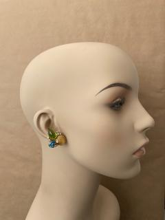 Michael Kneebone Michael Kneebone Peridot Blue Topaz Diamond Gold Shell earrings  - 1353210