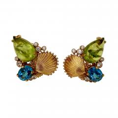 Michael Kneebone Michael Kneebone Peridot Blue Topaz Diamond Gold Shell earrings  - 1354105
