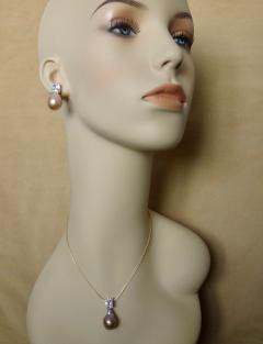 Michael Kneebone Michael Kneebone Pink Kasumi Pearl White Sapphire Drop Earring Pendant Suite - 996755