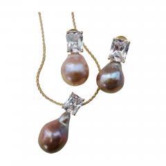 Michael Kneebone Michael Kneebone Pink Kasumi Pearl White Sapphire Drop Earring Pendant Suite - 998561