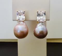 Michael Kneebone Michael Kneebone Pink Kasumi Pearl White Sapphire Drop Earrings - 996798