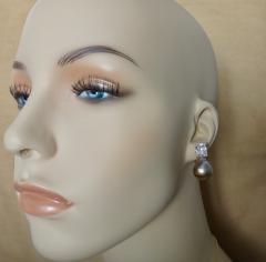 Michael Kneebone Michael Kneebone Pink Kasumi Pearl White Sapphire Drop Earrings - 996803