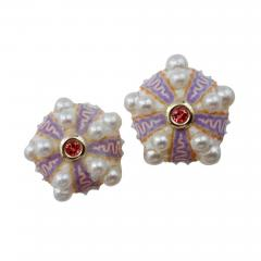 Michael Kneebone Michael Kneebone Pink Sapphire Akoya Pearl Sea Urchin Button Earrings - 1001594