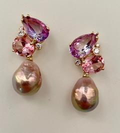 Michael Kneebone Michael Kneebone Pink Topaz Diamond Kasumi Pearl Dangle Earrings - 1579683