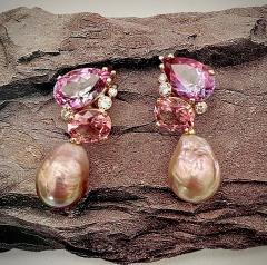 Michael Kneebone Michael Kneebone Pink Topaz Diamond Kasumi Pearl Dangle Earrings - 1579684