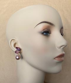Michael Kneebone Michael Kneebone Pink Topaz Diamond Kasumi Pearl Dangle Earrings - 1579685