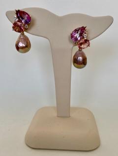 Michael Kneebone Michael Kneebone Pink Topaz Diamond Kasumi Pearl Dangle Earrings - 1579686