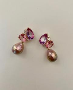 Michael Kneebone Michael Kneebone Pink Topaz Diamond Kasumi Pearl Dangle Earrings - 1579687