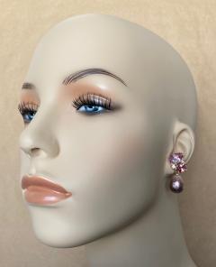 Michael Kneebone Michael Kneebone Pink Topaz Diamond Kasumi Pearl Dangle Earrings - 1579688